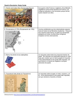 Road to Revolution Study Guide- English and Spanish Versions