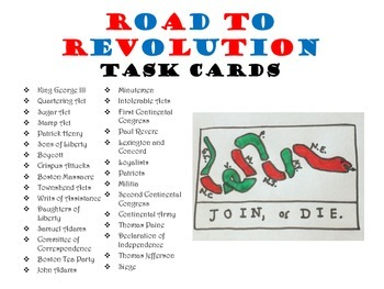 Road to Revolution Task Cards