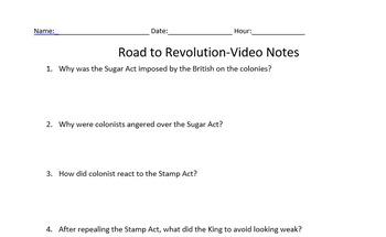 Road to Revolution Video worksheet