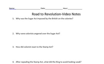 Road to Revolution Video worksheet