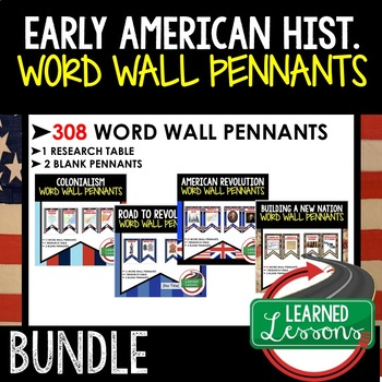 Road to Revolution Word Wall Pennants (American History)
