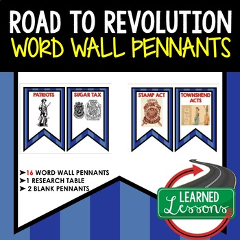Road to Revolution Word Wall Pennants, American History Word Wall