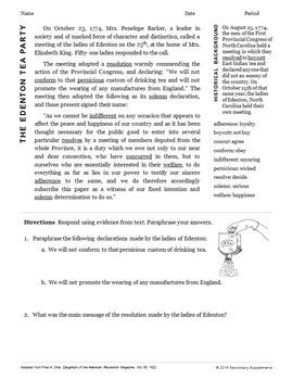 Road to Revolutionary War Primary Source Bundle
