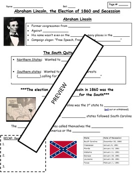 Road to Secession - Notes, Cause and Effect, and Primary Source Analysis