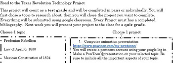 Road to Texas Revolution Technology Project TEKS