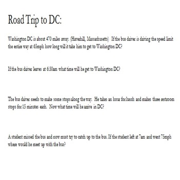 Road to Washington D.C. End of Year Math Questions