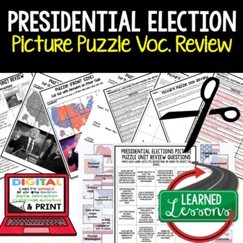 Road to White House Picture Puzzle Unit Review, Study Guide, Test Prep