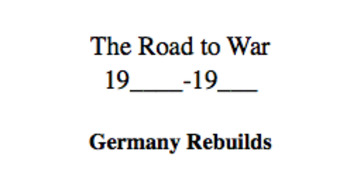 Road to World War II Lecture Notes