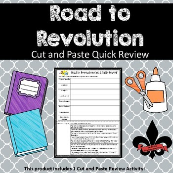 Road to the American Revoltion Cut and Paste Review--NO PREP