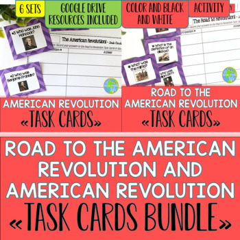 Road to the American Revolution and American Revolution Task Cards BUNDLE