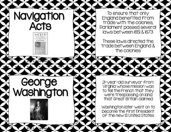 Road to the American Revolution Flash Cards - Black and White