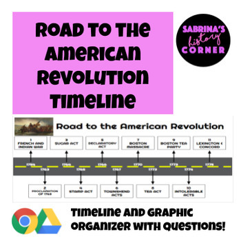 road to the american revolution timeline packet by sabrina 39 s history corner. Black Bedroom Furniture Sets. Home Design Ideas