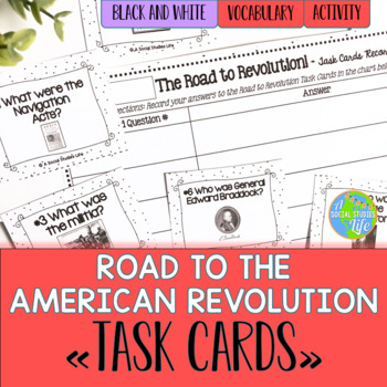 Road to the American Revolution Task Cards - Black and White Polka Dots
