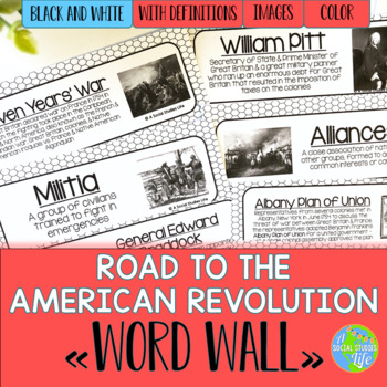 Road to the American Revolution Word Wall - Black and White