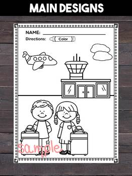 Road trip and Airplane Travel Coloring and Writing Pages, Trip, Vacation