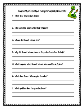 Roadrunner's Dance Comprehension Questions