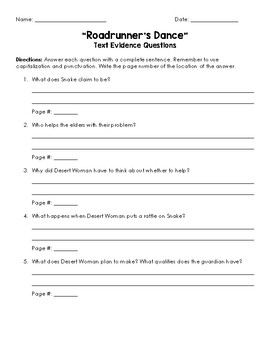 Roadrunner's Dance Text Evidence Questions