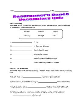 McGraw Hill Wonders - 3rd Grade - Roadrunner's Dance Vocabulary Resources