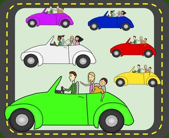 Roadtrip Cars & People Clip Art