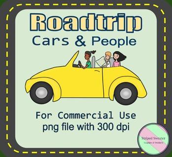Roadtrip Cars & People Clip Art