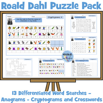 Roald Dahl Activity Pack - Word Searches, Anagrams, Crossw