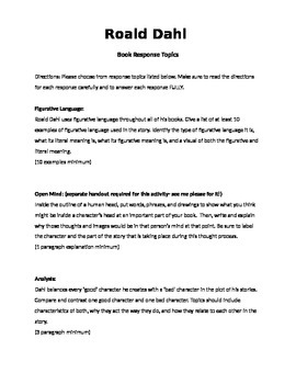 Roald Dahl Author Study- Book Response topics