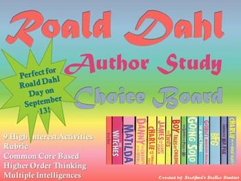 Roald Dahl Author Study Choice Board Activities Menu Celebrate Roald Dahl Day!