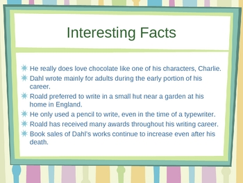 Roald Dahl Author's Study Power Point
