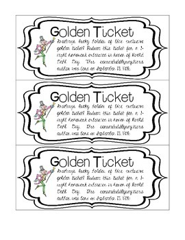 "Roald Dahl Day ""Golden Ticket"" Homework Passes"