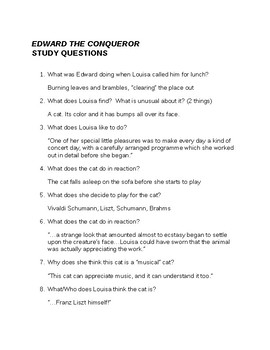 Roald Dahl Edward the Conqueror Questions and Answers