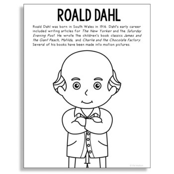 roald dahl famous author informational text coloring page
