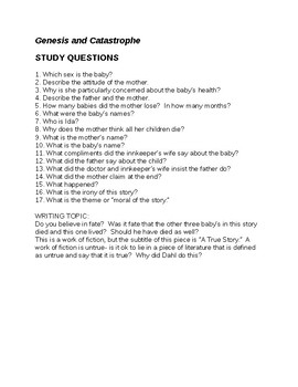Roald Dahl Genesis and Catastrophe Questions and Answers