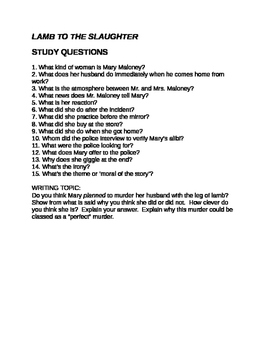 Roald Dahl Lamb to the Slaughter Questions