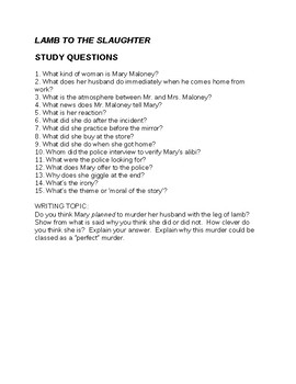 Roald Dahl Lamb to the Slaughter Questions and Answers