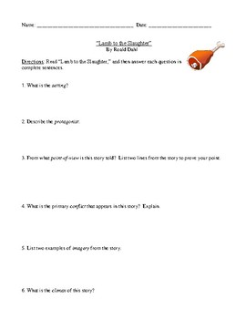 "Roald Dahl: ""Lamb to the Slaughter"" Worksheet (or Test) with Detailed Answer Key"