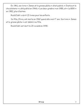 Roald Dahl - Lecture de comprehension