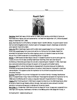 Roald Dahl - Life History Facts - Review questions vocabulary activities