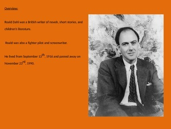 Roald Dahl - Life History Power Point 17 Slides Pictures Facts Information