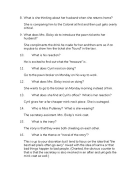 Roald Dahl Mrs. Bixby and the Colonel's Coat Questions and Answers