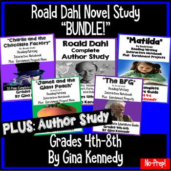 """Roald Dahl """"Bundle"""", Four Complete Novel Studies, Plus: Author Study"""