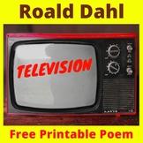 "Roald Dahl Poem ""Television"" -Free Printable -TV Turnoff -"