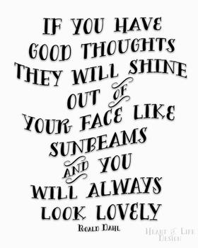 "Roald Dahl Poster | Roald Dahl ""Sunbeams"" quote poster | 16x20 11x14 8x10"