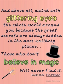 """Roald Dahl Quote """"Glittering Eyes"""" Poster"""