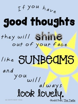 roald dahl quote sunbeams poster by cait s cool school