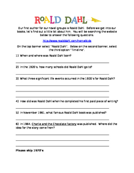 Roald Dahl Scavenger Hunt for Activation or Introduction Activity