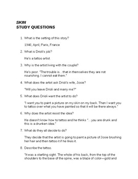 Roald Dahl Skin Questions and Answers