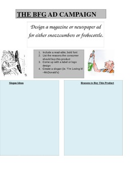 Roald Dahl The BFG Literature Activity