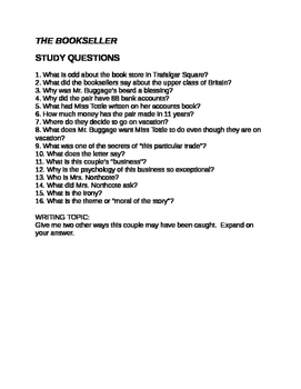 Roald Dahl The Bookseller Questions