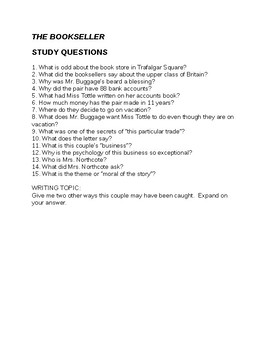 Roald Dahl The Bookseller Questions and Answers