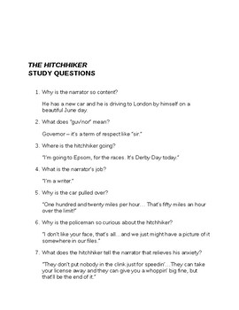 Roald Dahl The Hitchhiker Questions and Answers